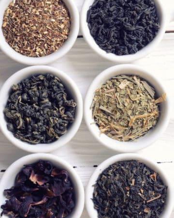 tea sampler of dry loose leaf tea