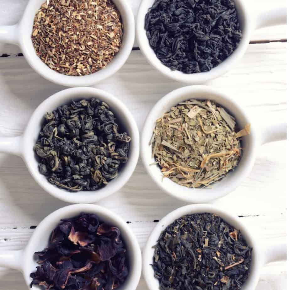 tea sampler of dry loose leaf tea