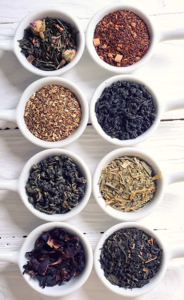 best online tea shops - pictured 8 styles of loose leaf tea