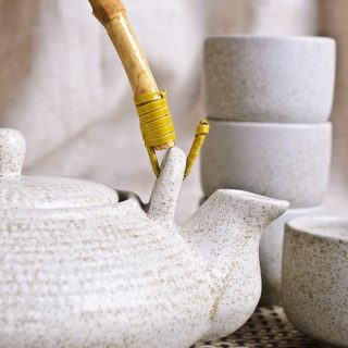 tea quotes Kettle and empty bowls for the tea ceremony