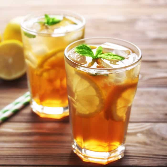 lemon iced tea in two glasses