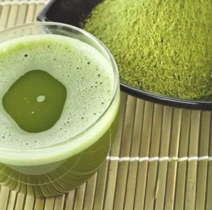 matcha green tea breakfast drink in a glass