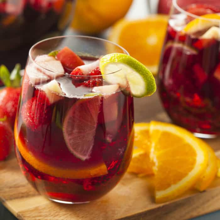 Sangria Tea in glass with fruit