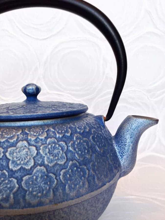 Japanese tetsubin cast iron teapot that is intended to hold the heat in.