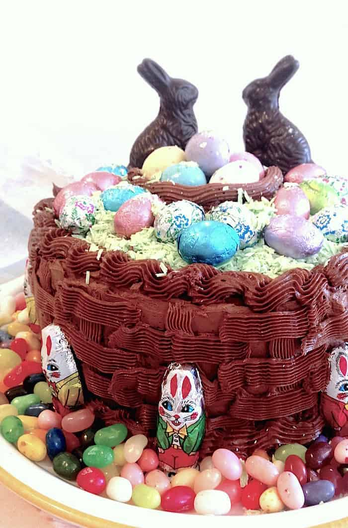 Chocolate Cake decorated like an Easter Basket