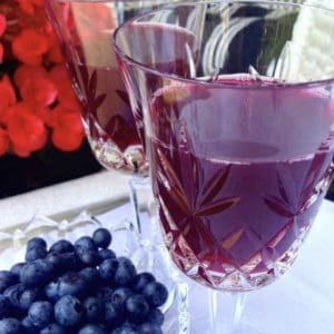 blueberry iced tea in wine glass