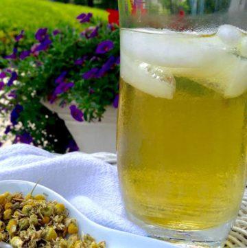 Chamomile tea with honey over ice