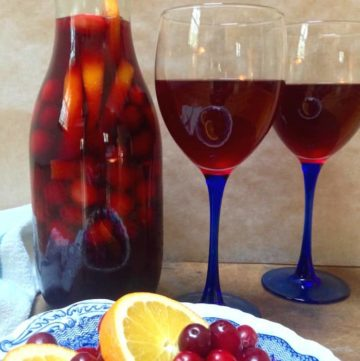 Cranberry Orange Sangria with 2 wine glasses