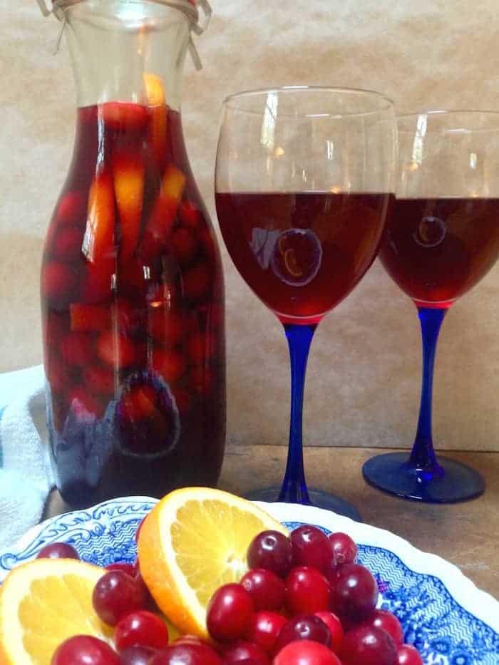 Cranberry Orange Sangria with 2 wine glasses