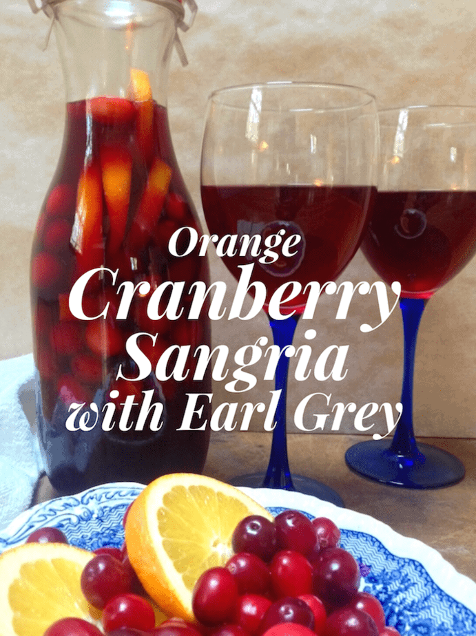 Cranberry sangria filled with fall's best flavors like oranges, cranberries, and Earl Grey black tea makes a simple and irresistible red wine sangria. #capecodselect #frozencranberries #cranberriesforallseasons #tea