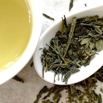 Sencha Japanese Tea Dried Leaf and Liquor Japanese Green Tea