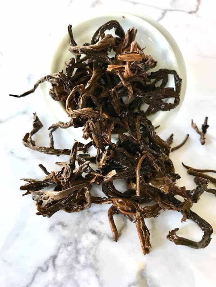 Black Dragon Pearl tea wet leaves