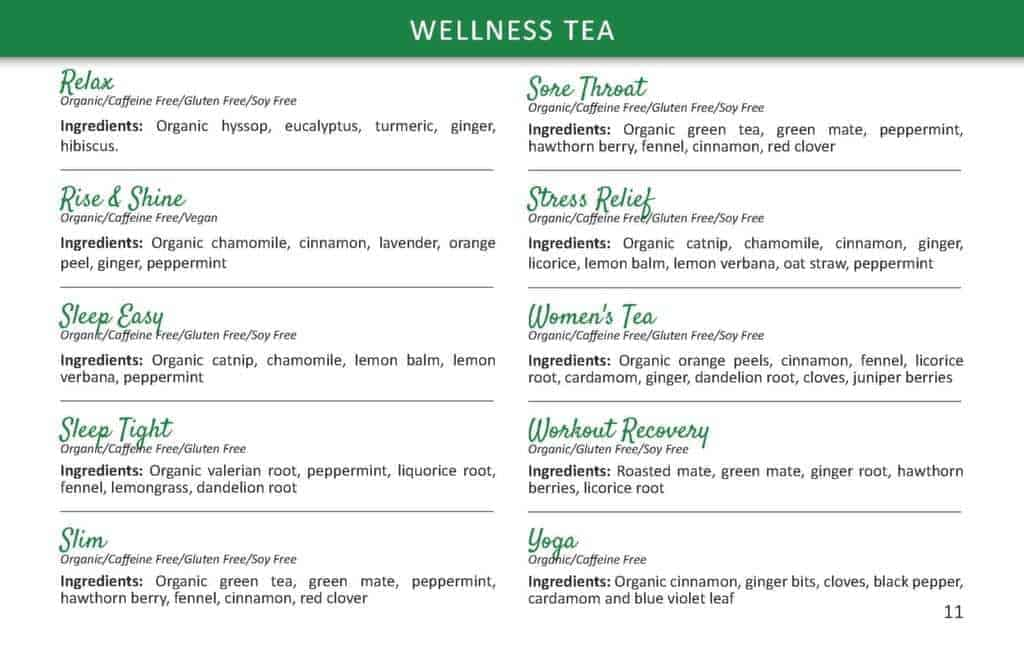 TeaLife wellness tea list