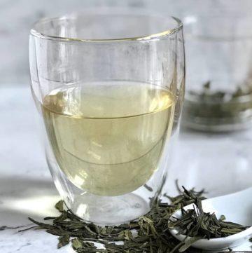 dragon well green tea in glass