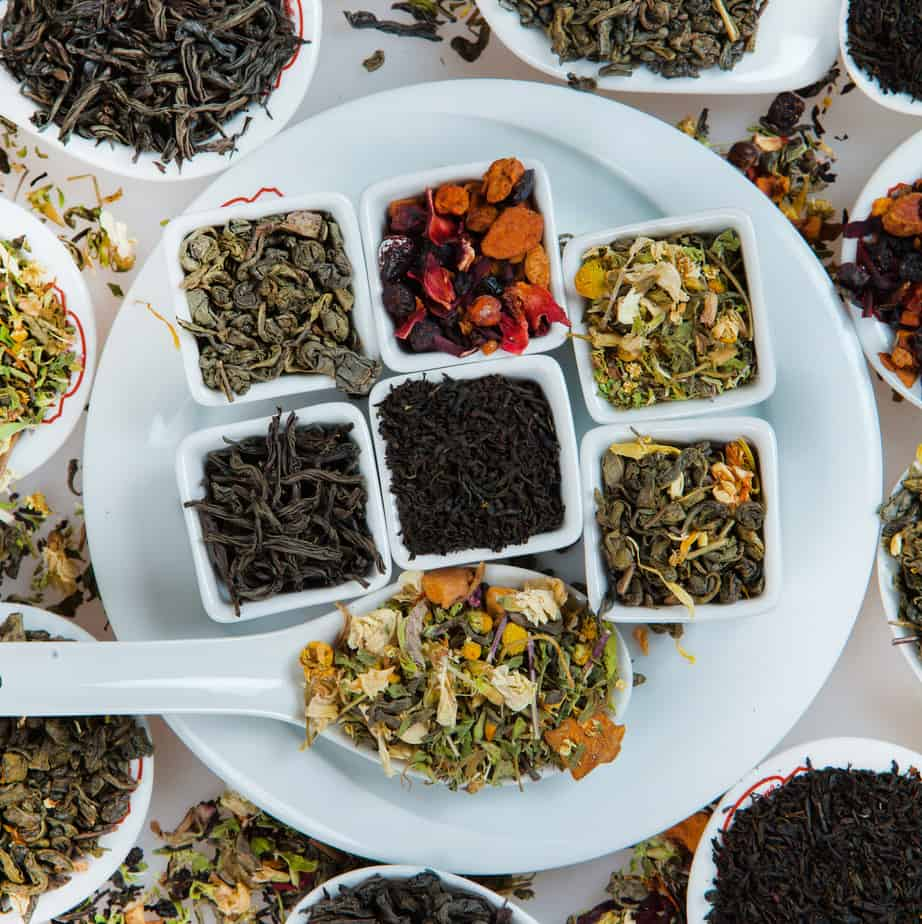 variety of loose leaf teas