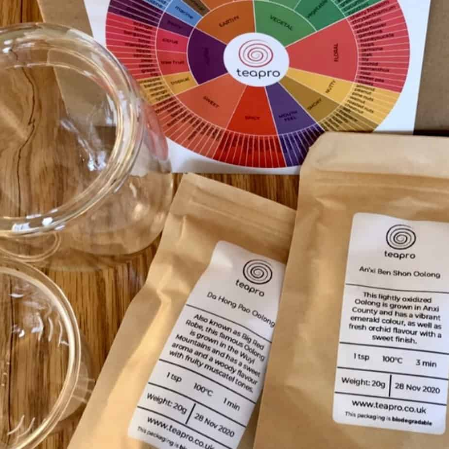 TeaPro subscription of tea, tea wheel and infuser glass