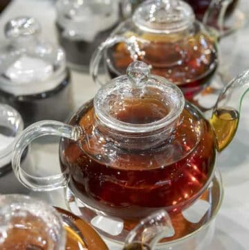 best tea brands row of glass teapots