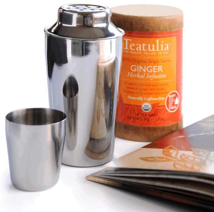 tea cocktail shaker and book