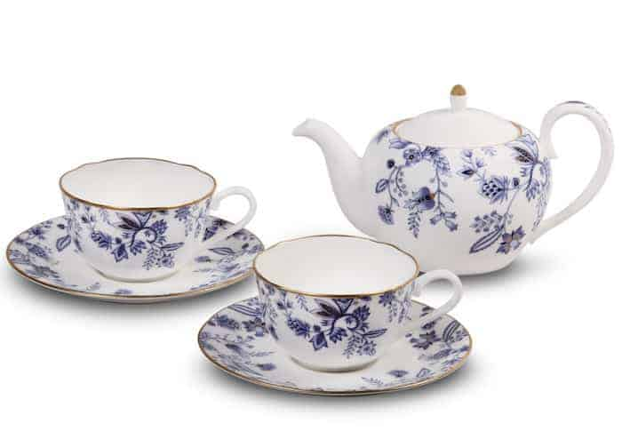 Noritake blue and white tea set for two