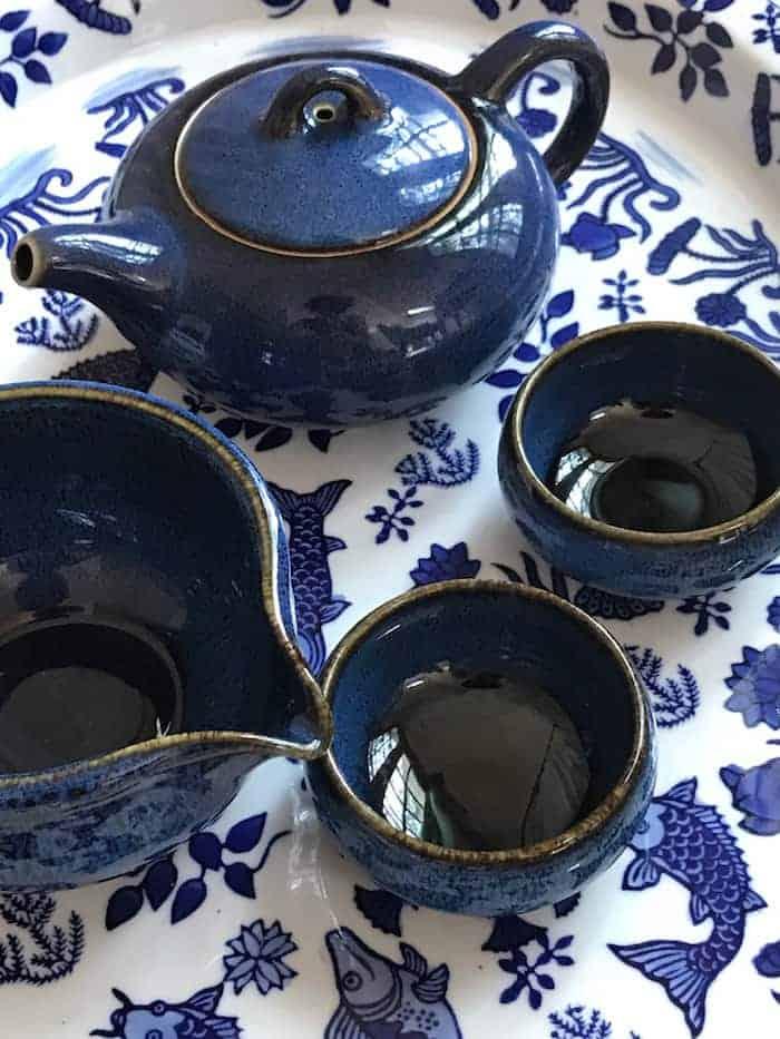 gongfu blue and white tea set