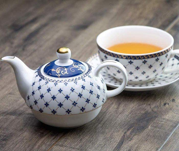 teapot and cup blue and white for one