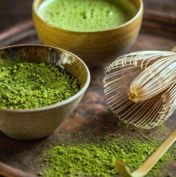 Matcha green tea powder with matcha whisk (Chasen) and matcha scoop (Chashaku)