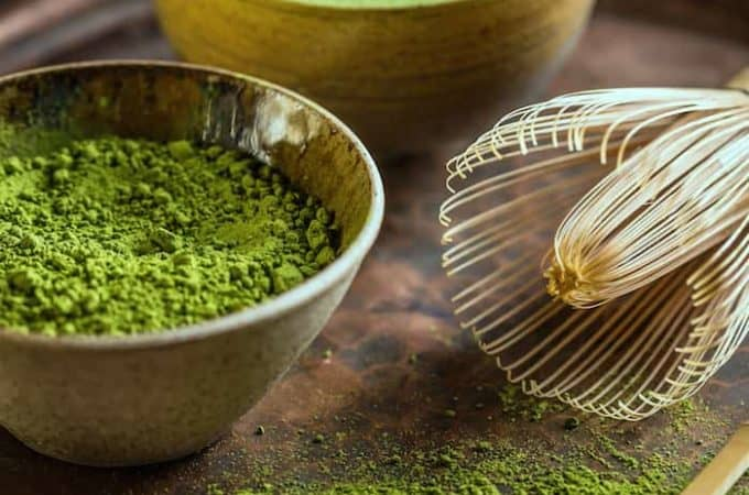 Matcha green tea powder with matcha whisk (Chasen) and matcha scoop (Chashaku)