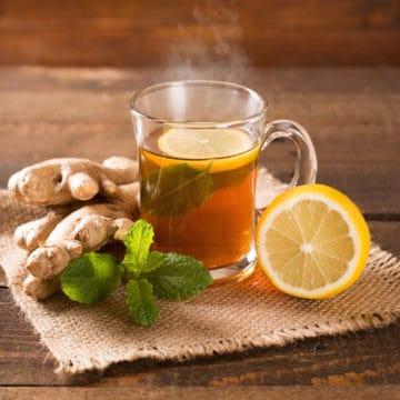 hot ginger lemon tea in glass