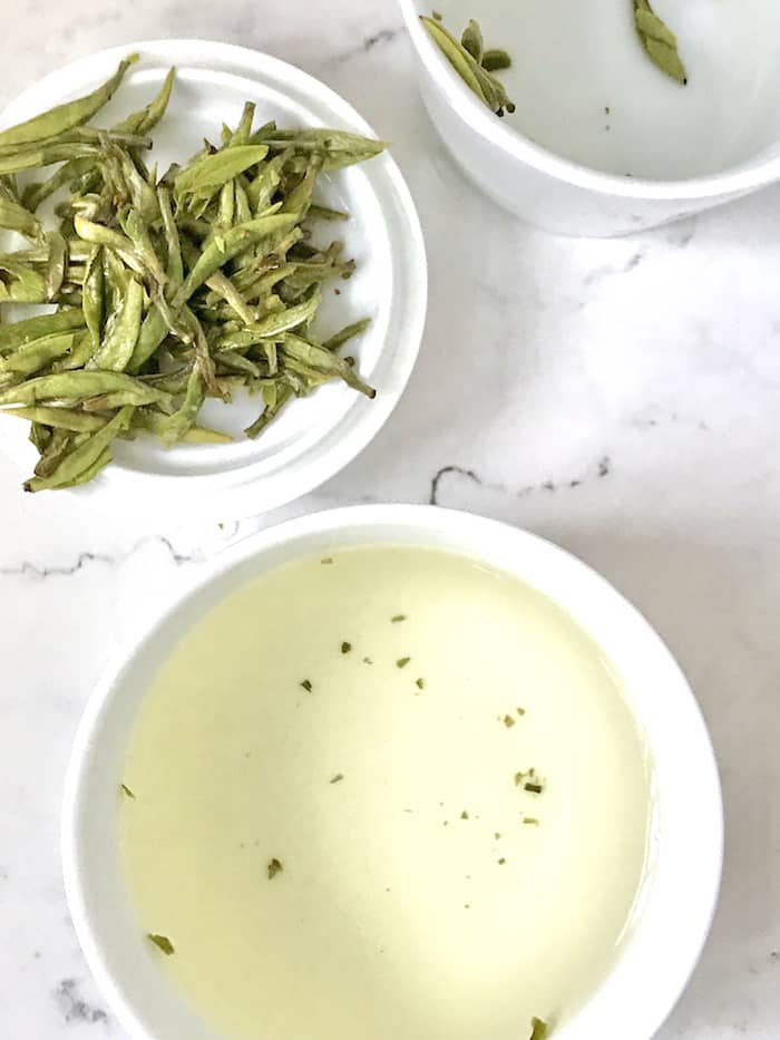Silver Needle white tea brewed in a cup
