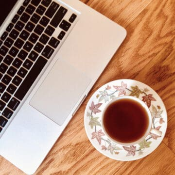 laptop with wedgwood tea cup overhead
