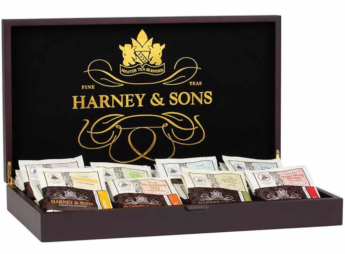 Harney & Sons wooden tea chest storage for tea bags